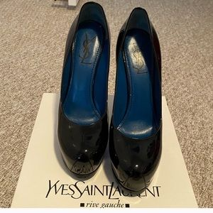 YSL PATENT LEATHER NAVY HEELS
